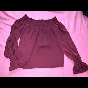 Gorgeous Guess Pink Satin Off Shoulder Top